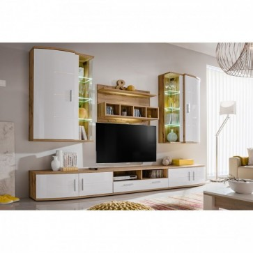 Set salotto lucidissimo -bianco rovere -wotan - GINEVRA