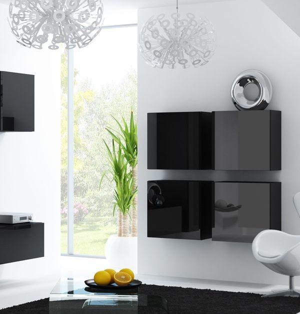 Armadio pensile moderno lucido per soggiorno - Viral quadrata