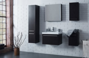 Set completo per il bagno con lavabo 80cm in color noce -  Atos