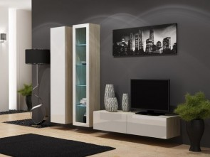 Rovere opaco / bianco lucido Parete attrezzata moderna da soggiorno - Viral X.