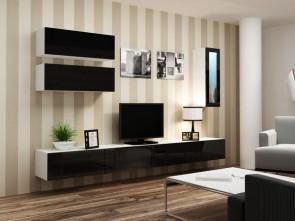 Nero opaco/nero lucido parete attrezzata da soggiorno moderno