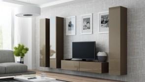 Latte opaco / latte lucido  parete attrezzata moderna da soggiorno