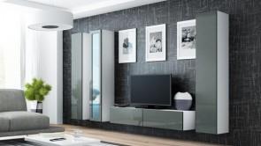 Bianco opaco / grigio lucido parete attrezzata moderna da soggiorno