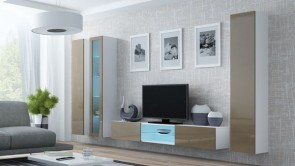 set completo di mobili soggiorno chic - Bianco opaco/latte lucido