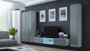set completo di mobili soggiorno chic - Bianco opaco/grigio lucido