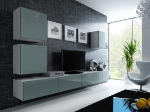 set completo di  mobili soggiorno moderni - Bianco opaco / grigio lucido