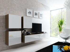 set completo di mobili soggiorno moderni  - Latte opaco /bianco lucido