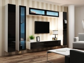 Parete attrezzata moderna da soggiorno bianco/nero